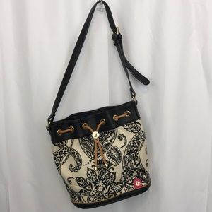 Spartina 449 linen/leather bucket tote bag